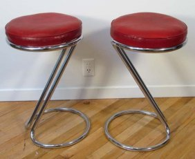 """Pair """"Z"""" Stools By Gilbert Rohde For Troy Sunshade"""