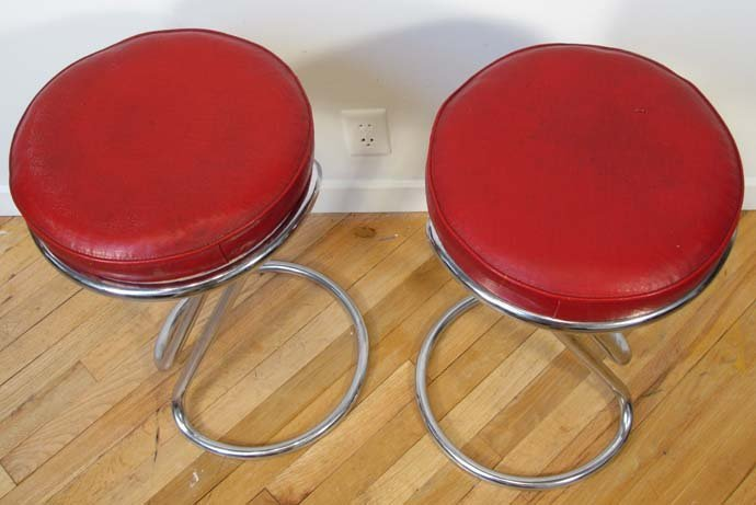 """482: Pair """"Z"""" stools by Gilbert Rohde for Troy Sunshade - 2"""