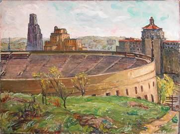 212: Rachel M. Sutton, Pitt Stadium painting