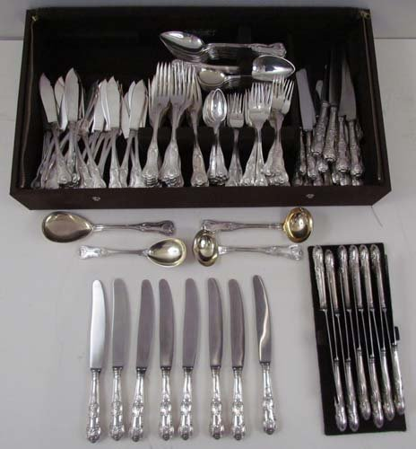 12: Lg Set of German Silver Flatware, Kings' Pattern