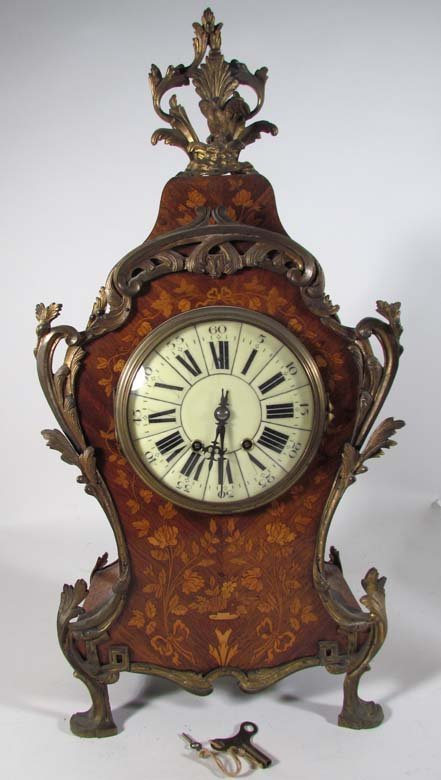 20: Inlaid Wood Mantle Clock w/ceramic face and metal f
