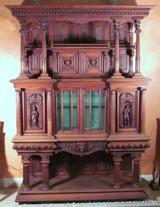 22: Elaborately Carved Renaissance Revival Style Curio