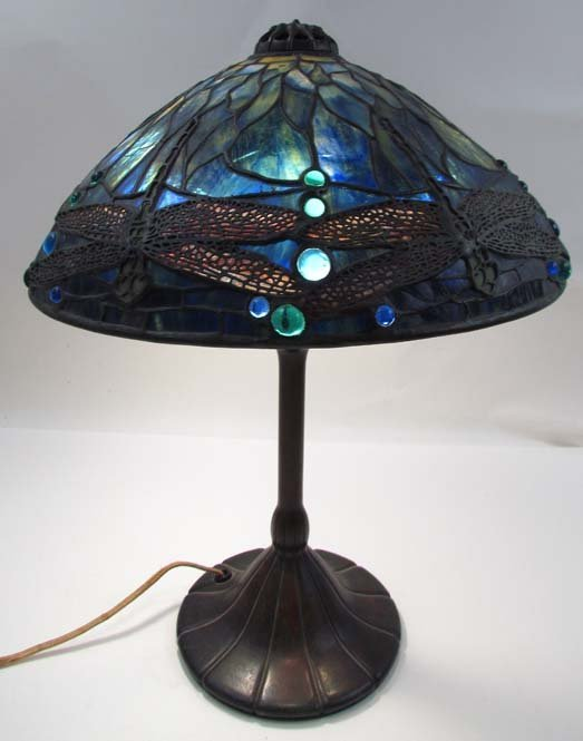 154: Tiffany Dragonfly Table Lamp w Bronze Tiffany Base
