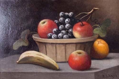 177: B.S. Hays oil of Fruit Basket Still Life - 2