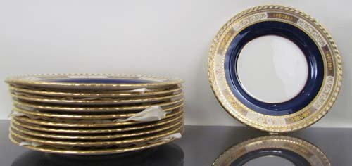 332:  11 Minton Plates for Tiffany & Co., NYC. Cobalt B - 2