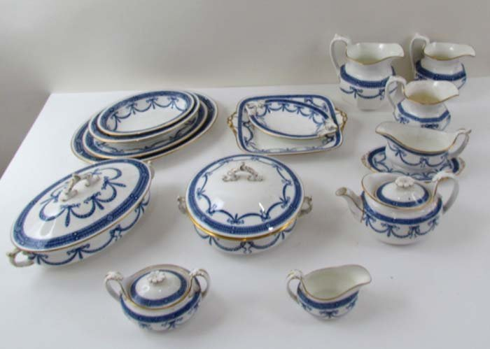 500: A Large Set of  Blue & Gild-Edged Antique Wedgwood
