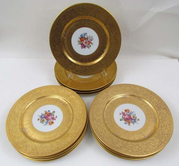 502: 12 Union Czechoslovakian gilded under plates with