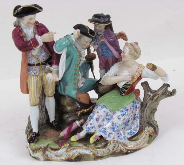 503: Meissen Figural Group, The Competing Suitors