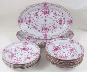 14 Pc.s Meissen Painted Purple Indian Porcelain