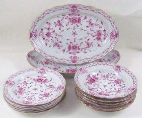 504: 14 pc.s Meissen Painted Purple Indian Porcelain