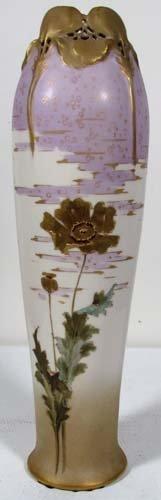 506: Teplitz Bohemian Amphora with gilded floral decora