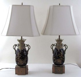 508: Pair of Teplitz vases converted to table lamps