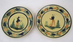 510: Pair Quimper faience pottery plates