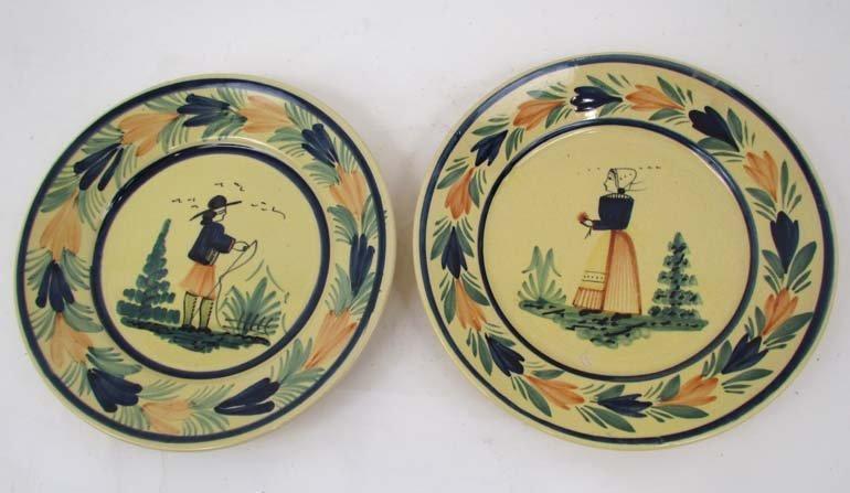 510: Pair Quimper faience pottery plates