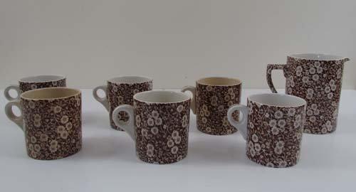 511: 6 Orownford  Ceramic Mugs & Matching 3-Pint Pitche