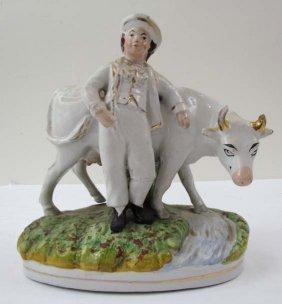"""512: Staffordshire glazed ceramic """"Boy with His Prized"""
