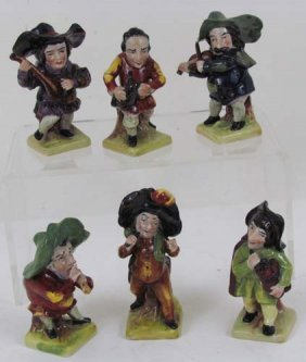 516: 6 antique Capidimonte Figures Peasant Orchestra