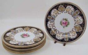 517: 7 Antique Wedgewood hand painted bone china plates