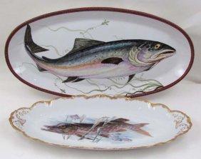 518: 2 hand painted porcelain large Fish Platters & 8 L