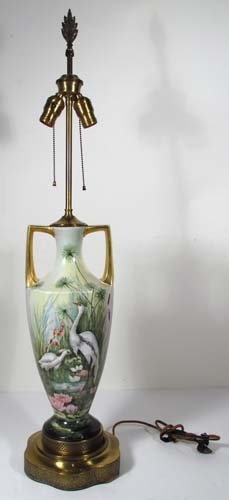 519: Teplitz Art Nouveau Vase with Lily Pads and gilded