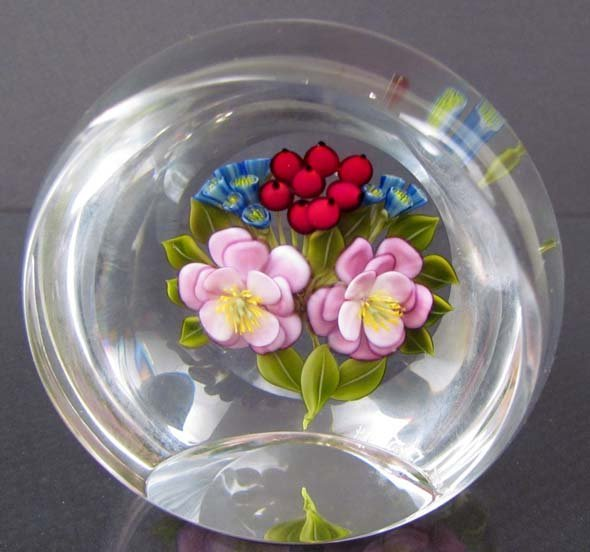 """522: Trabucco Faceted Paperweight """"Pansies and Buds"""""""