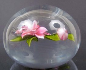 "523: Trabucco  round  Paperweight ""Wild Flower and Bud"""