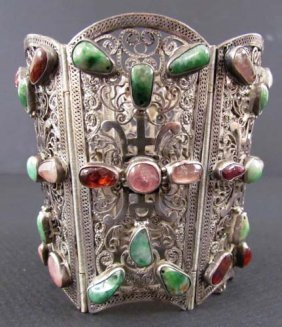 536: Asian Silver Filigree Hinged Cuff w set stones