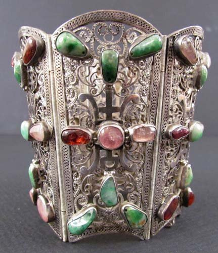 536: Asian Silver Filigree Hinged Cuff w set stones