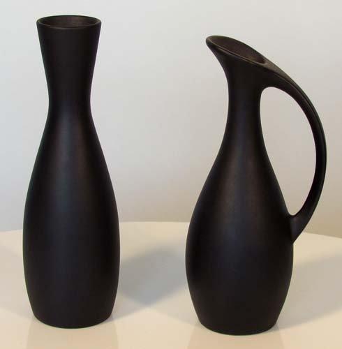 1: Pair of Danish Black Ceramic Vases Royal Schoonhoven