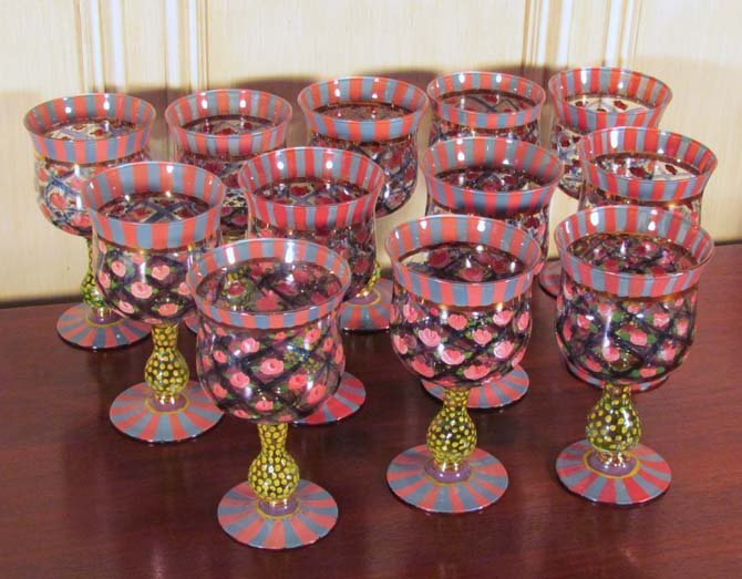 """3: 12 McKenzie Childs Blown Glass Goblets """"Victoria & R"""