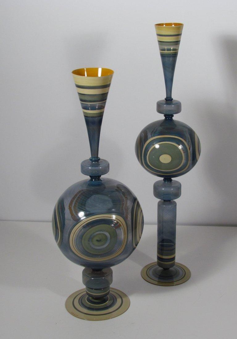 8: Matt Eskuche Contemporary Art Glass Pair of Vessels