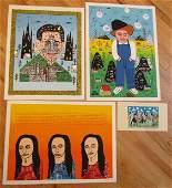 155: 4 Howard Finster limited edition serigraphs