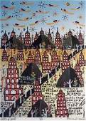 """158: Howard Finster """"Cities of Gold"""" print"""