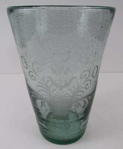 Blown Etched Antique Pale Green Glass Vase