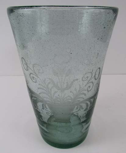 Blown & Etched Antique Pale Green Glass Vase