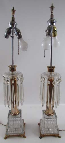 Pair of cut glass and crystal columnar lamps