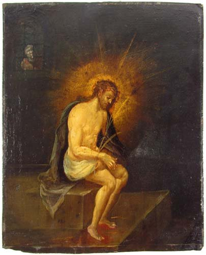 "Old Masters painting on copper ""Christ Imprisoned"""