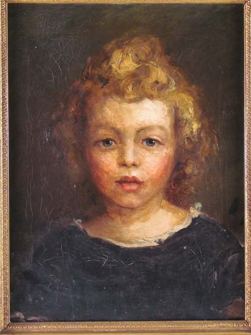 "British School oil painting ""Portrait of a Young Girl"""