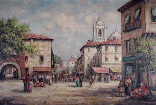 """Dennis Ainsley """"Market Day"""" oil painting"""