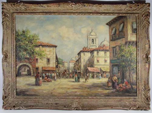 """Dennis Ainsley """"Market Day"""" oil painting - 2"""