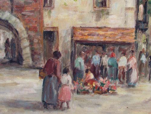 """Dennis Ainsley """"Market Day"""" oil painting - 5"""