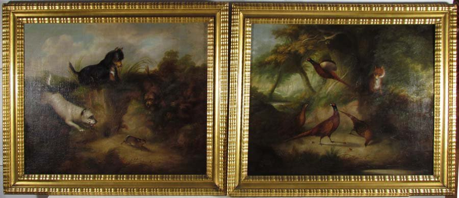 Pair of Philip Reinagle paintings Dogs and Fox Hunting