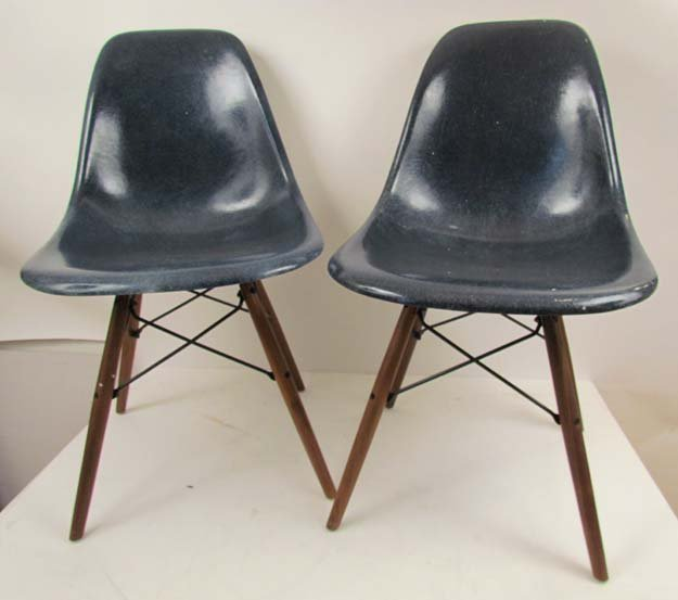Navy Eames Dowell Legged fiberglass chairs