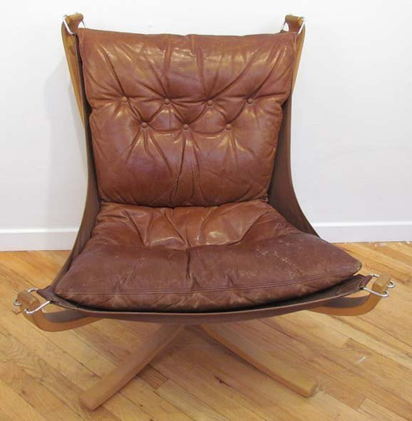 MOBLER MODERN SCANDINAVIAN LEATHER SLING CHAIR