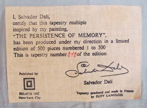"""Salvador Dali Tapestry """"The Persistence of Memory"""" - 3"""