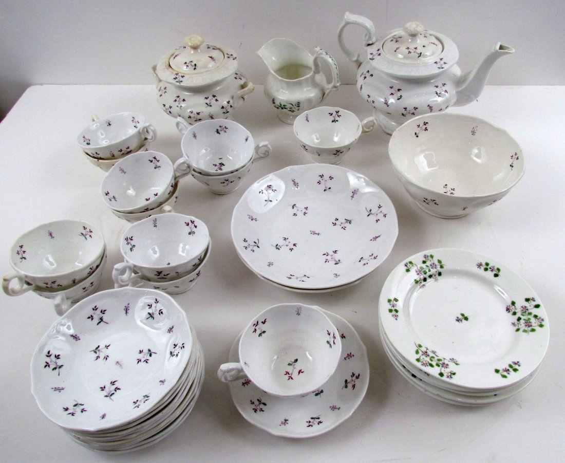 37 pcs partial Antique English Sprigged Porcelain burgu
