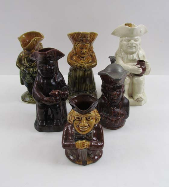 Group of 6 Toby Jugs including Pewter Lidded example