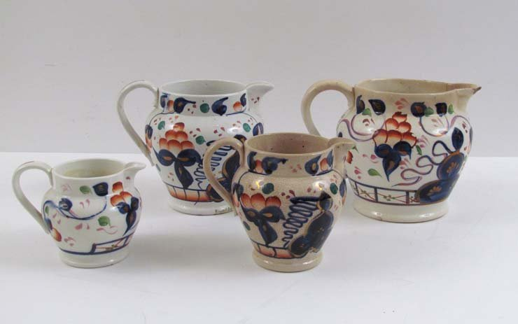 4 Assorted Copper and Pink Lustreware Pitchers