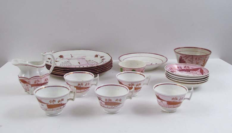 Antique Group of Pink Lustreware with Cottage pattern