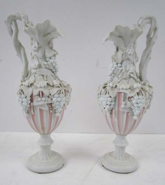 Pair of Very Elaborately Decorated White Bisque Parian